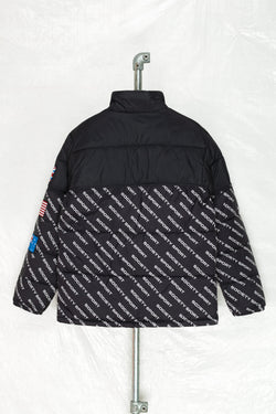 SOCIETY SPORT BLACK ALL OVER LOGO FLAGS PUFFER JACKET