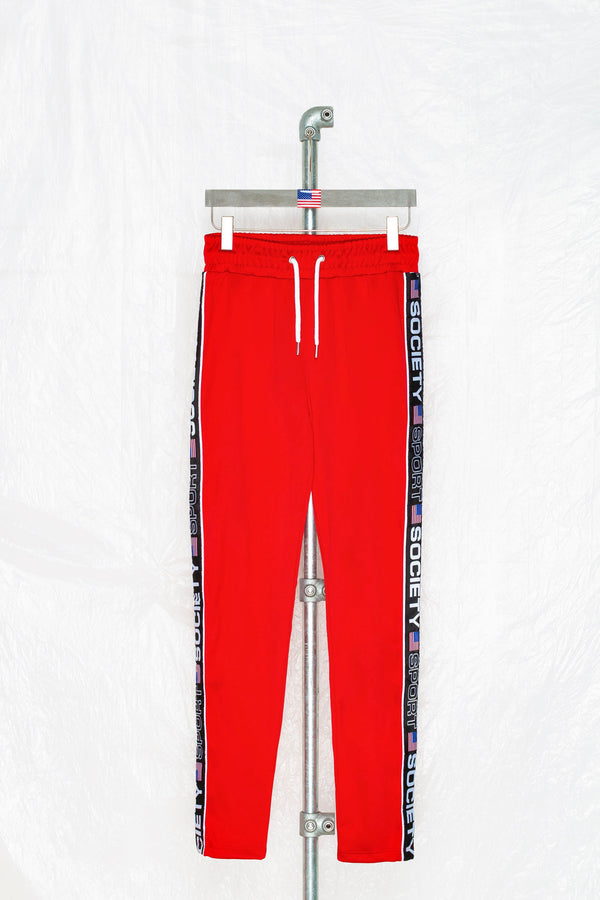 SOCIETY SPORT RED TAPED POLY PANTS