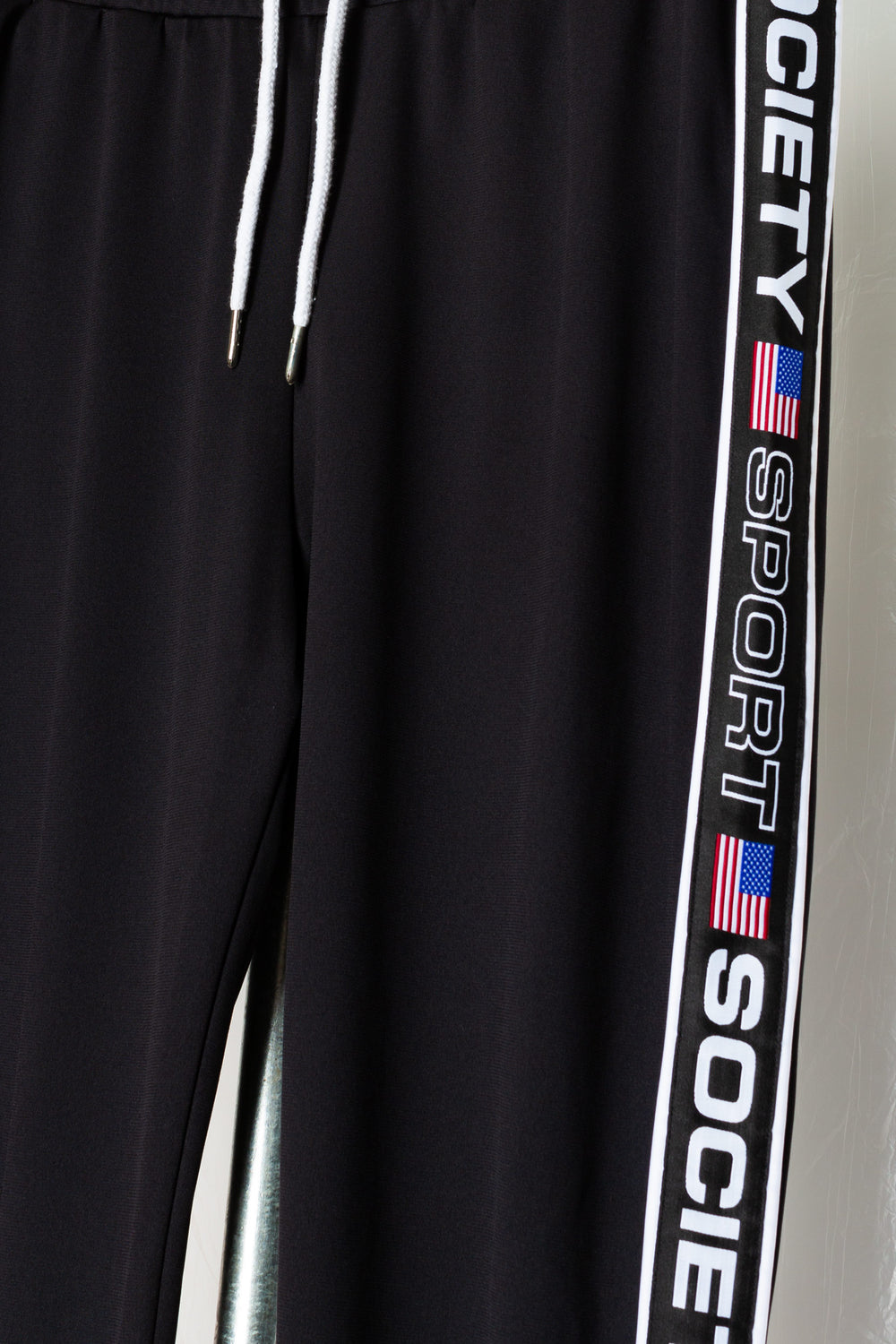 SOCIETY SPORT BLACK TAPED POLY PANTS