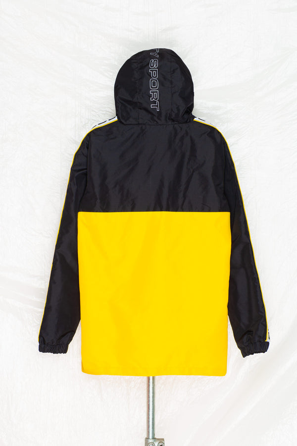 SOCIETY SPORT BLACK/YELLOW 1/4 ZIP WINDBREAKER