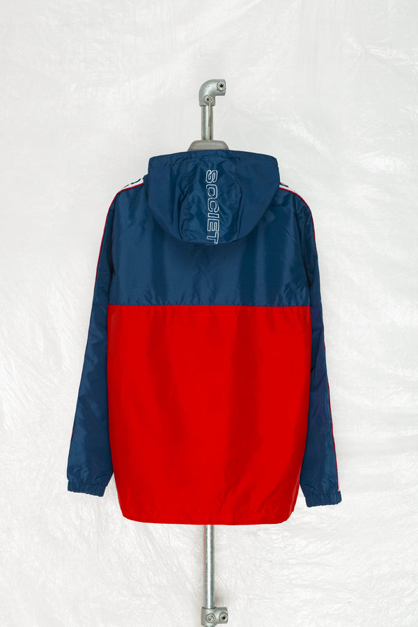 SOCIETY SPORT RED/NAVY 1/4 ZIP WINDBREAKER