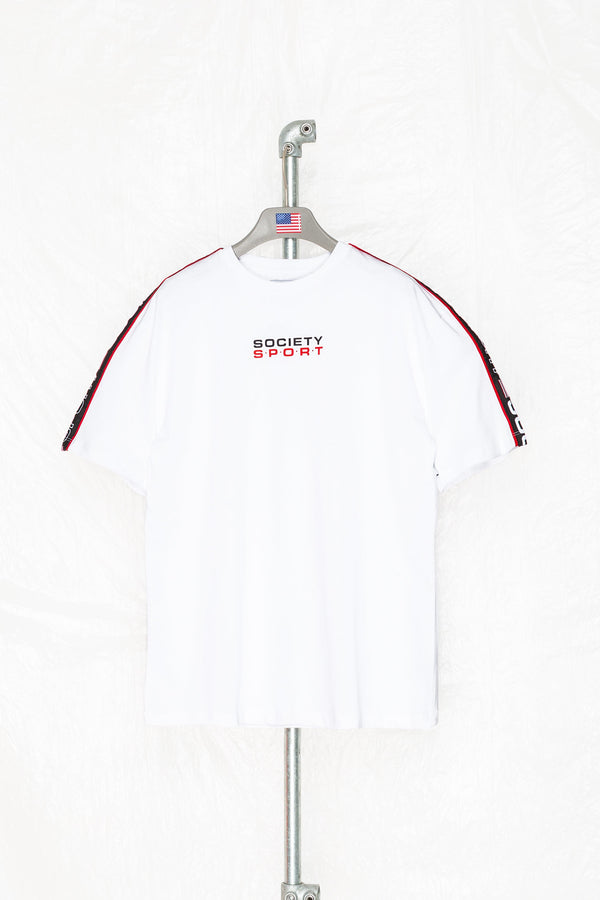SOCIETY SPORT WHITE TAPED T-SHIRT