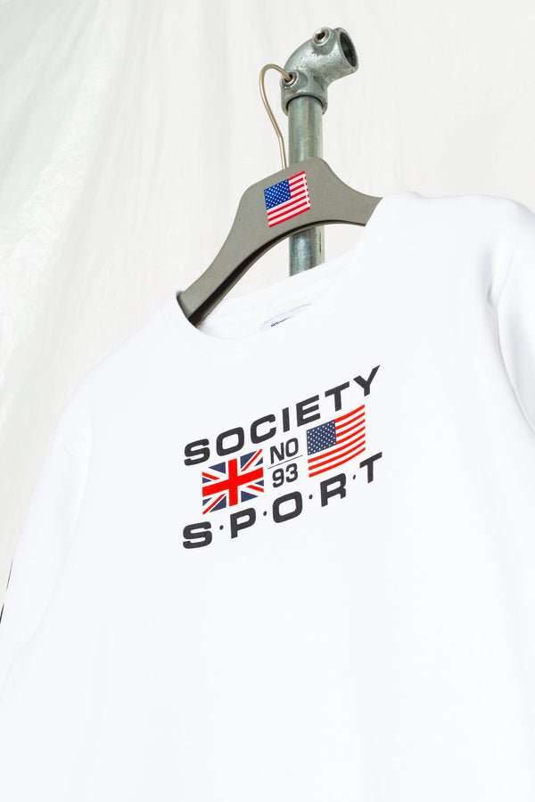 SOCIETY SPORT FLAGS 93 WHITE CREWNECK