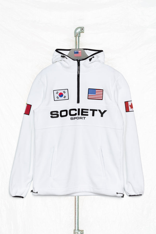 SOCIETY SPORT MEN'S WHITE SHERPA 93 FLAG HOODIE