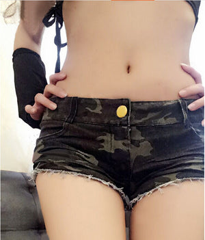 Toni || Camo Denim Shorts