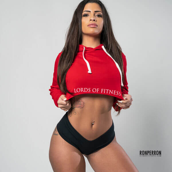 Lords Of Fitness Crop Hoodie Red