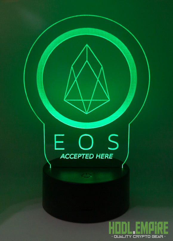 EOS Accepted Here -LED Sign - Green