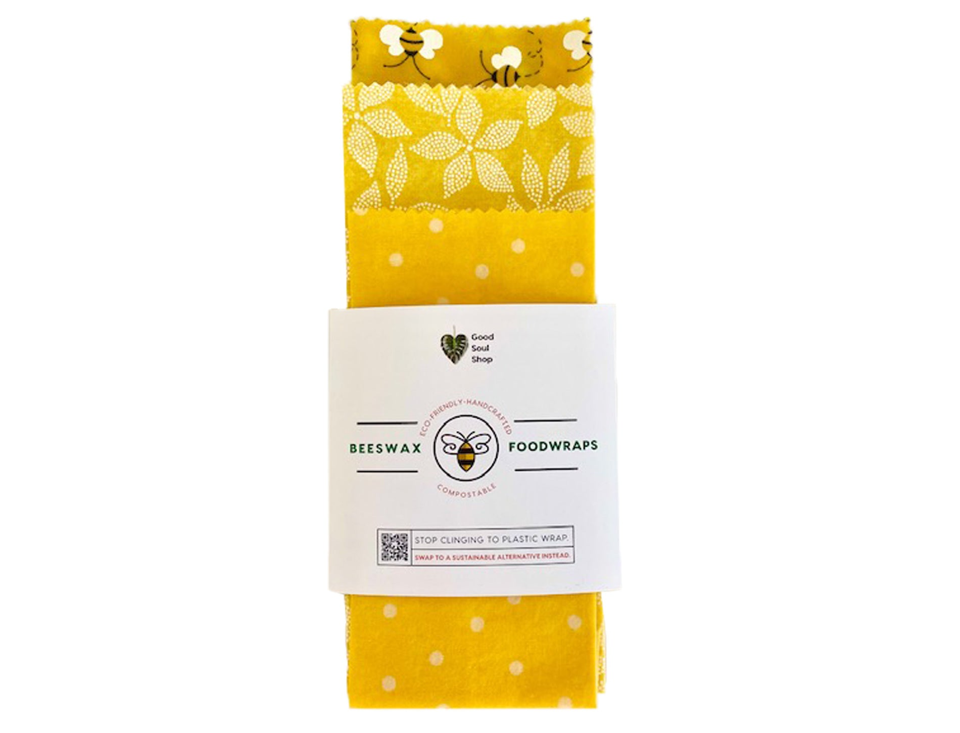Beeswax Wrap Set of 3 - Happy Bees - Good Soul Shop