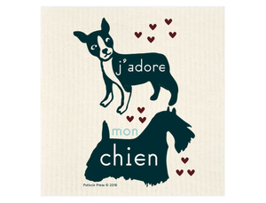 J'Adore Mon Chien Dogs Swedish Dishcloth - Good Soul Shop