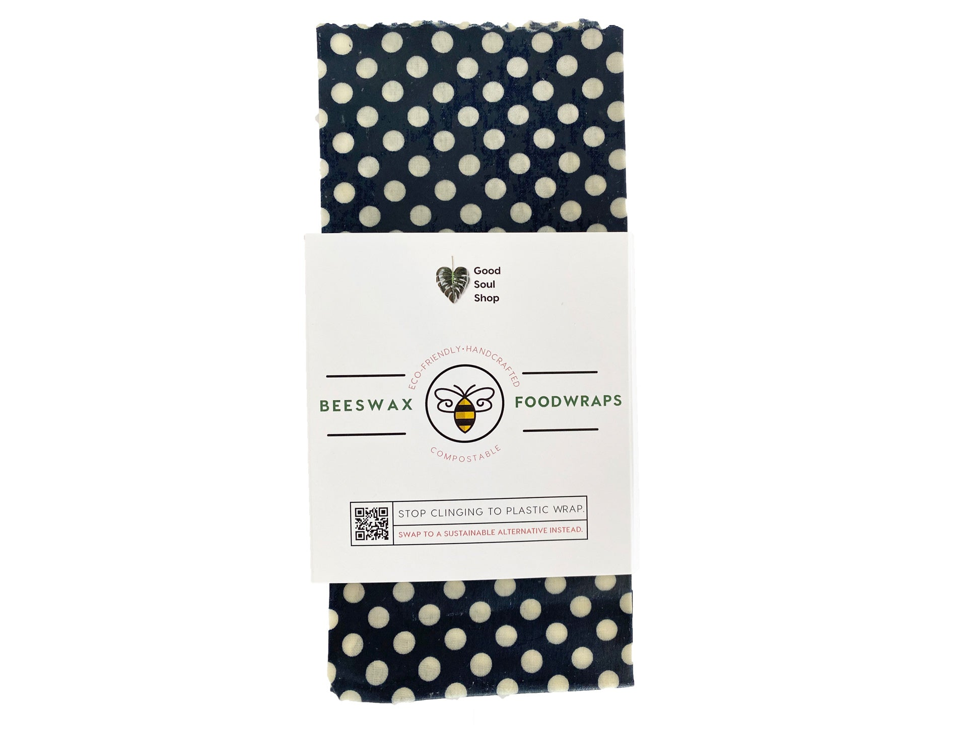 Beeswax Wrap Set of 3 - Navy Polka Dot (10 inch) - Good Soul Shop