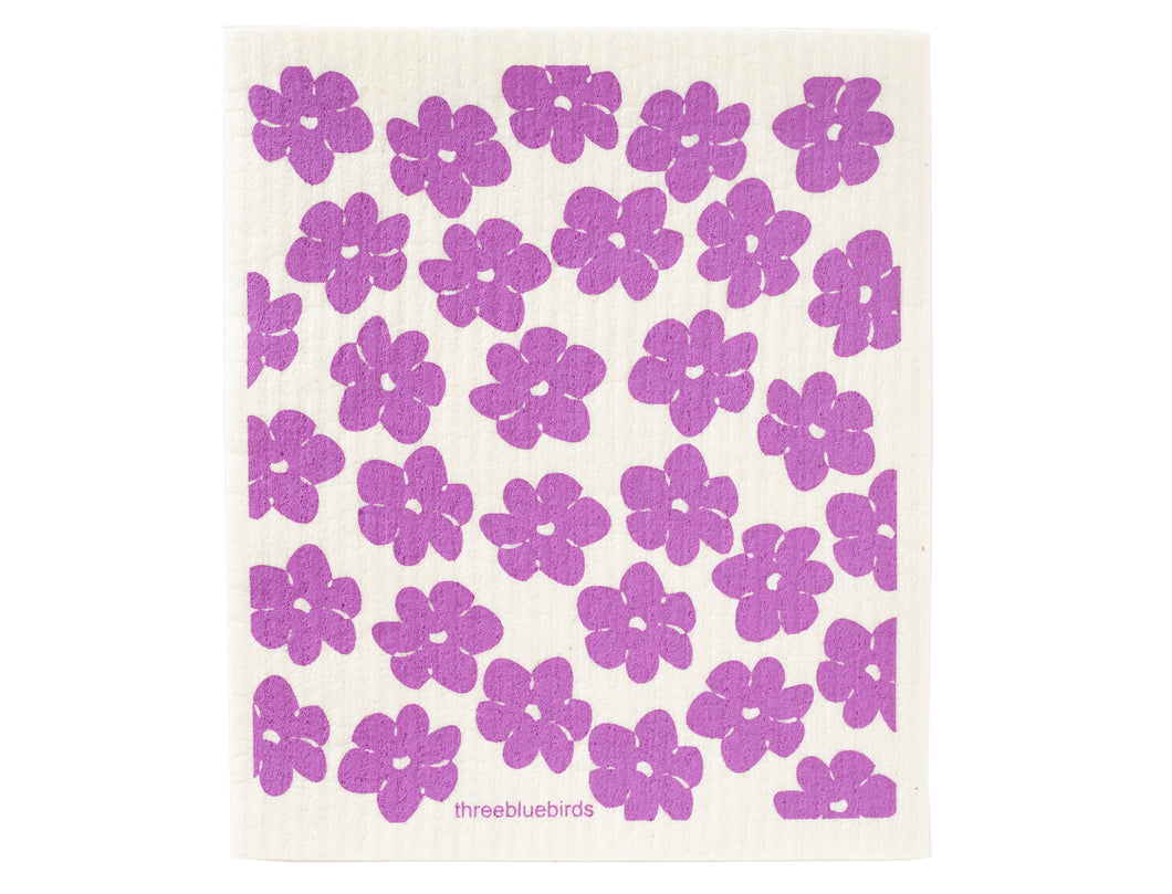 Purple Poppies Swedish Dishcloth - Good Soul Shop