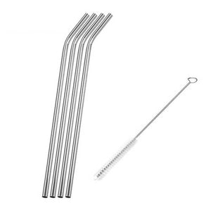 Set of Four Stainless Steel Drinking Straws and Cleaning Brush