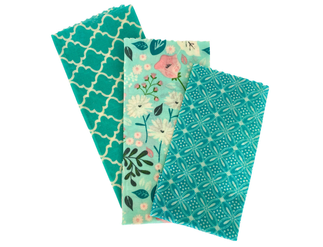 Beeswax Wrap Set of 3 - Teal Floral - Good Soul Shop