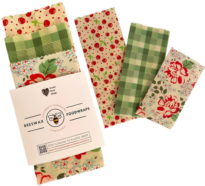 Beeswax Wrap Set of 3 - Cherries, Green Plaid, Floral - Good Soul Shop