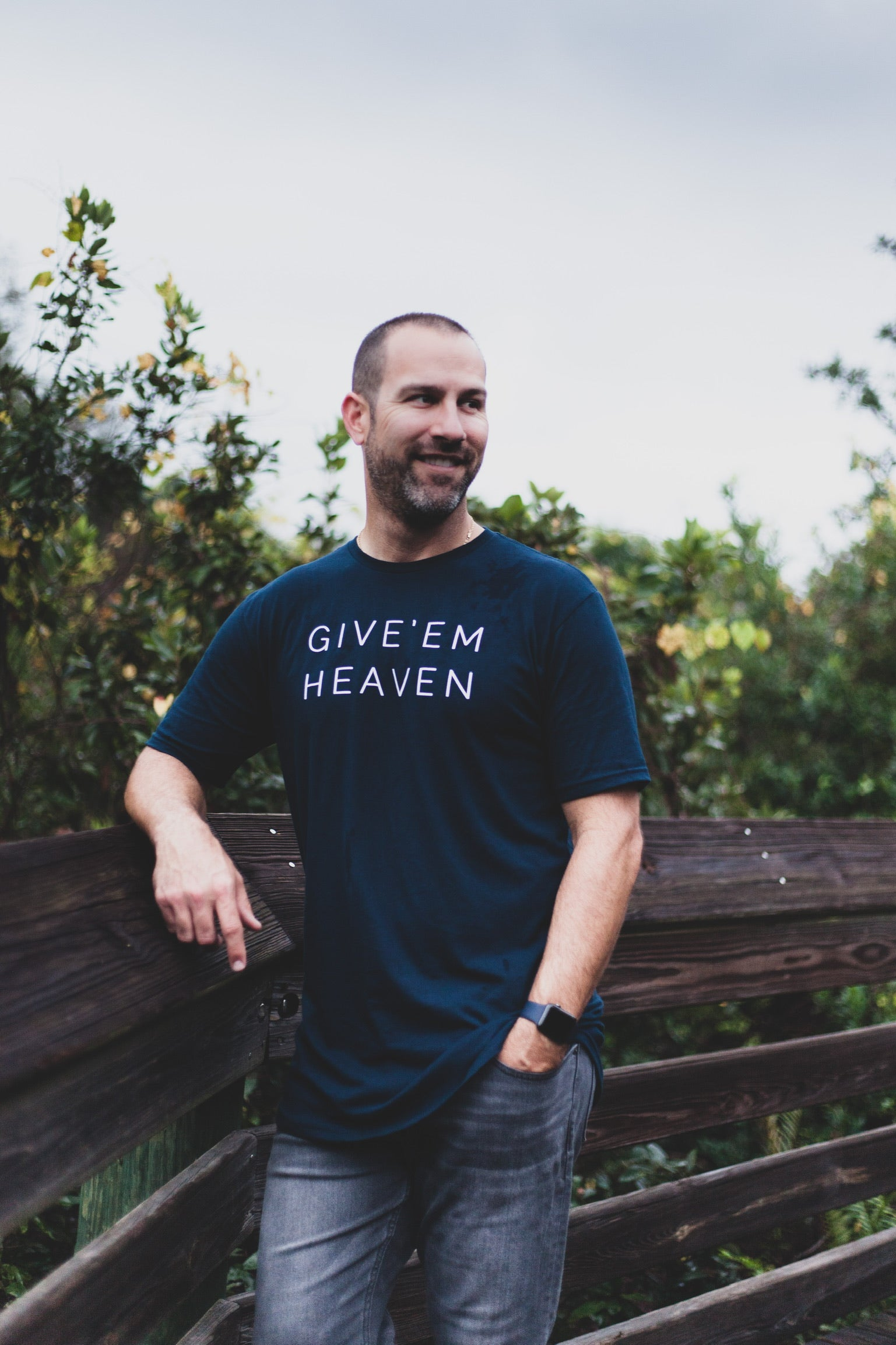 GIVE EM HEAVEN - UNISEX NAVY BLUE SWOOP TEE