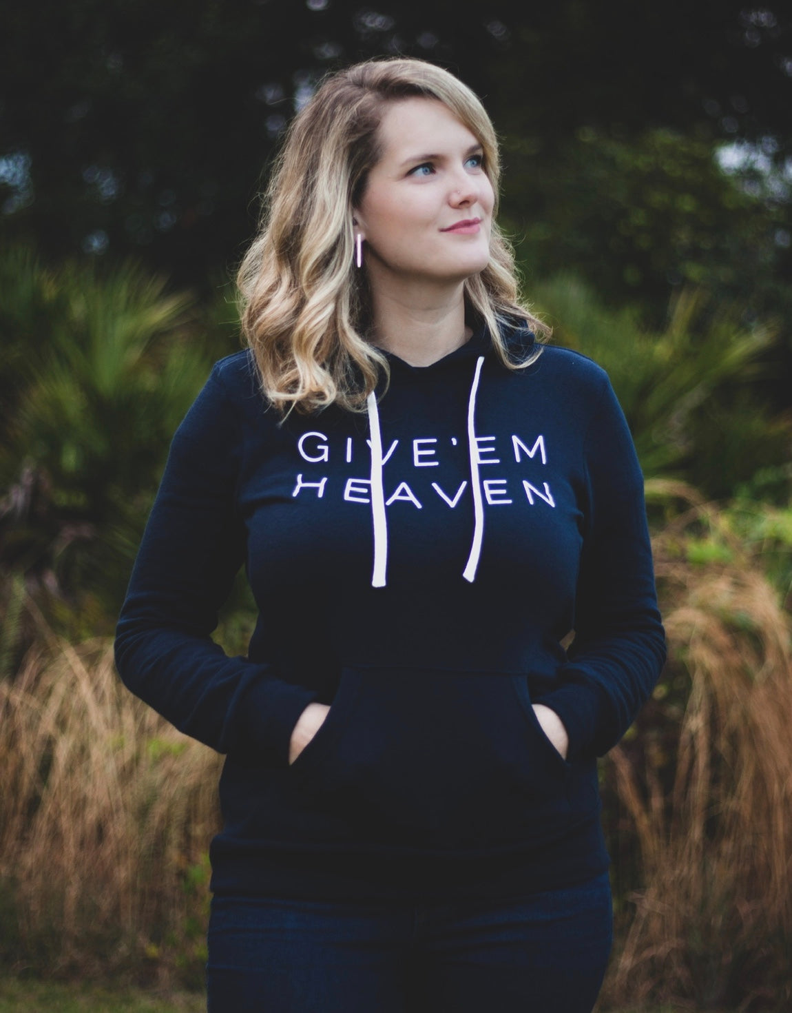GIVE'EM HEAVEN PULLOVER HOODIE- UNISEX  HOODED SWEATSHIRT