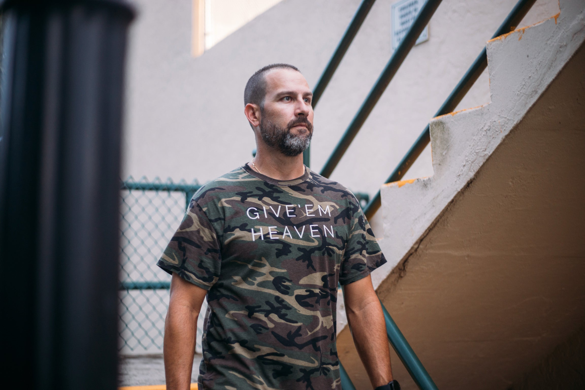 GIVE EM HEAVEN - MEN'S RUGGED CAMO TEE