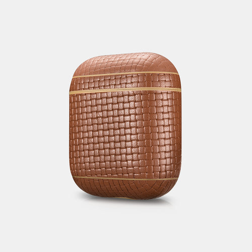 Woven Pattern Real Leather Airpods Protective Charging Case - GeekSoul