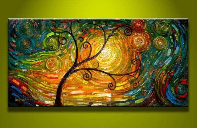 Abstract Oil Painting Tree Of Life Cosmotic Art