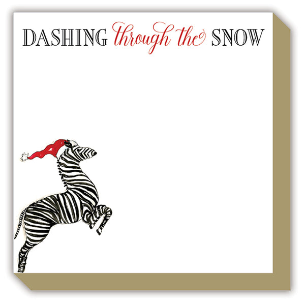 Dashing through the Snow Handpainted Zebra in Santa Hat Luxe Notepad