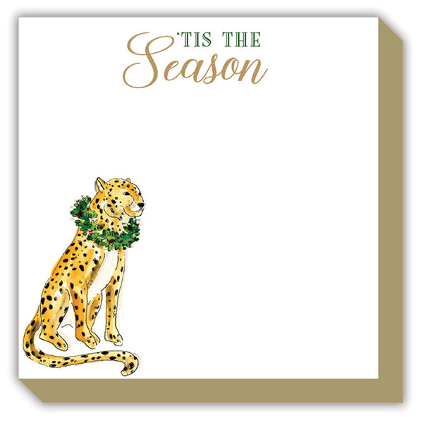 Tis the Season Handpainted Cheetah with Wreath Luxe Notepad