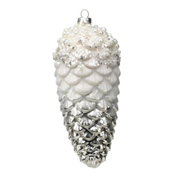White and Silver Pinecone Ornament