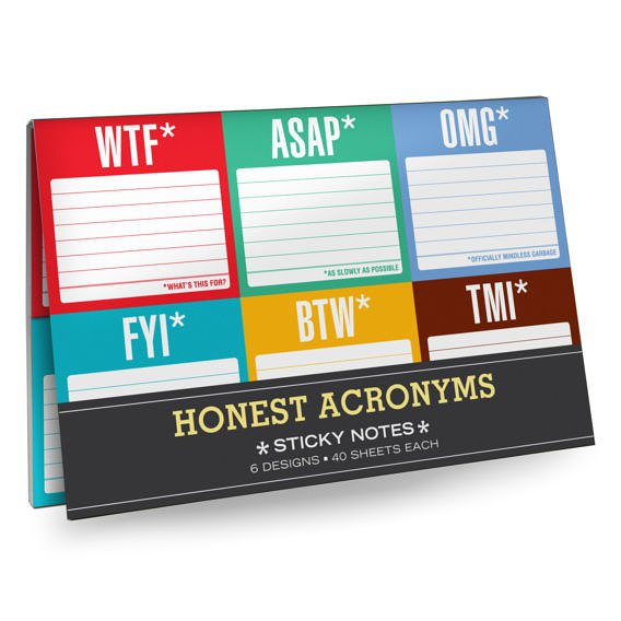 Honest Acronyms Sticky Notes Packet