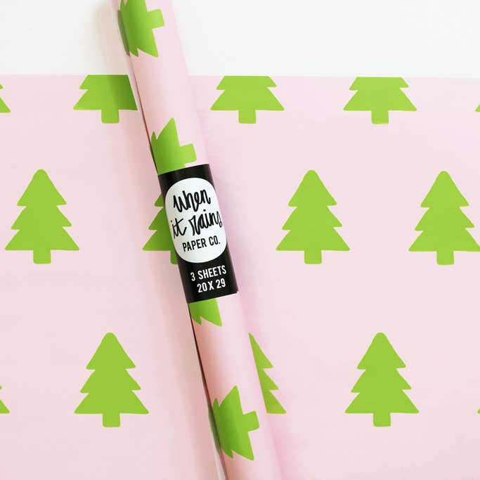 Pink and Green Christmas Tree Gift Wrap Wrapping Paper Rolls - S/3