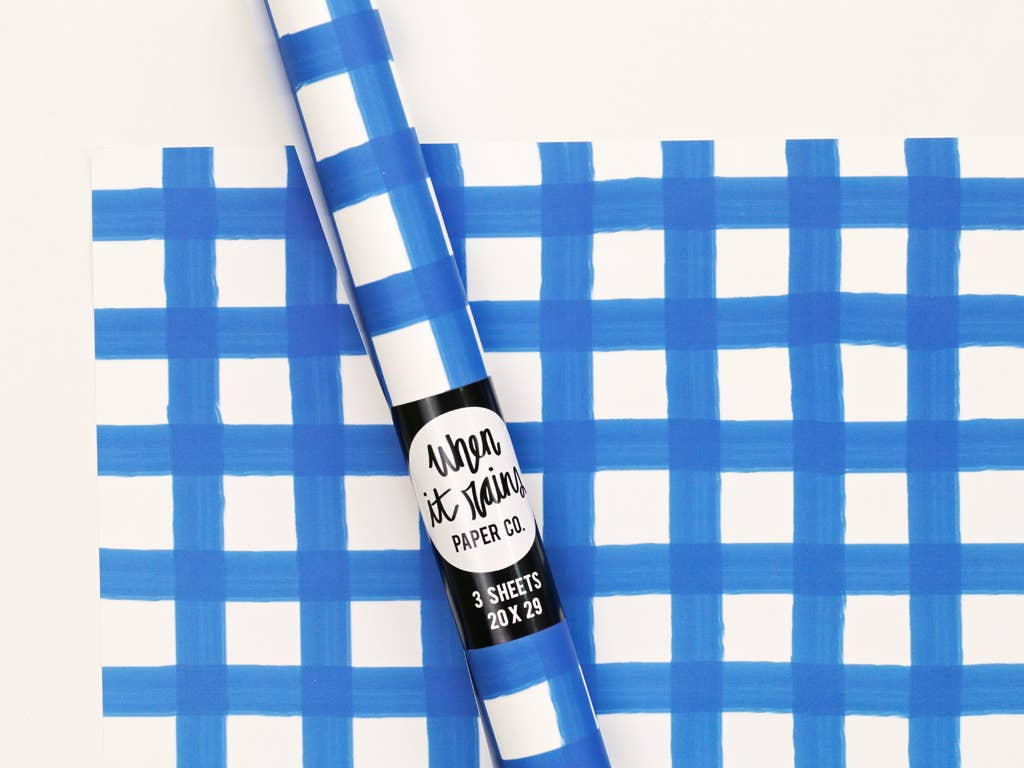 Blue and White Gingham Gift Wrap Wrapping Paper Rolls - S/3