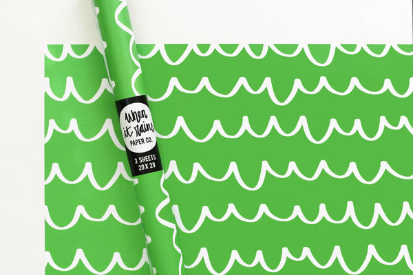 Green Scallop Gift Wrap Wrapping Paper Rolls - S/3