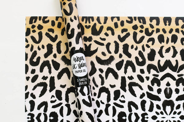 Leopard Print Gift Wrap Wrapping Paper Rolls - S/3
