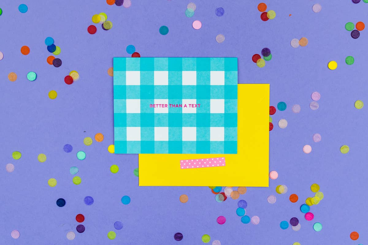 Blue Gingham Note Card Set - Better Than a Text - S/10