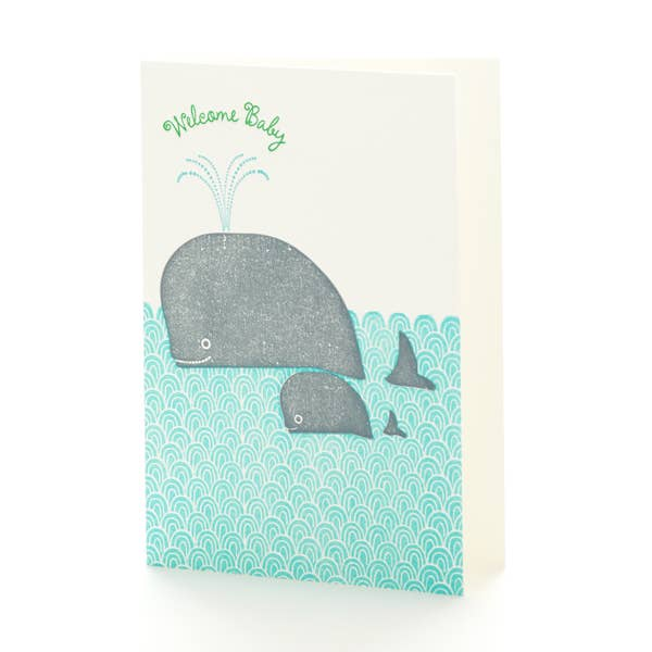 Whales Welcome Baby Notecard