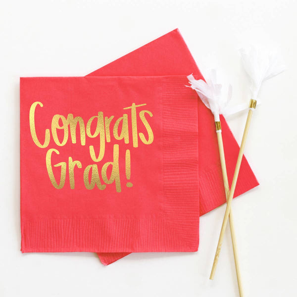 Congrats Grad - Foil Cocktail Napkins - 12 Colors
