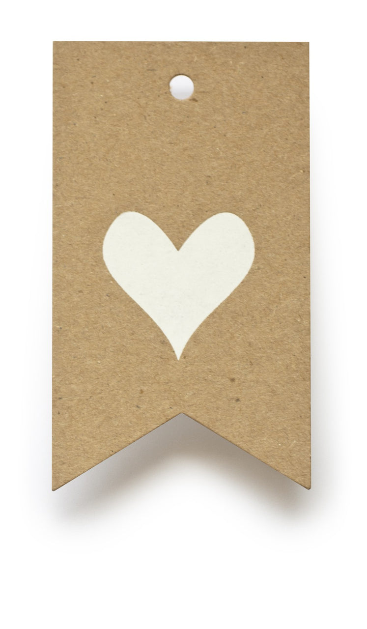 Kraft Heart Gift Tag S/10