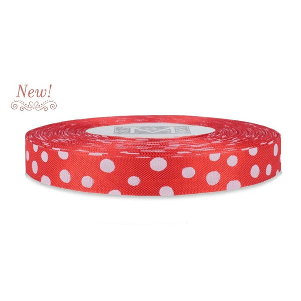 White Polka Dots on True Red Rayon Trimming Ribbon