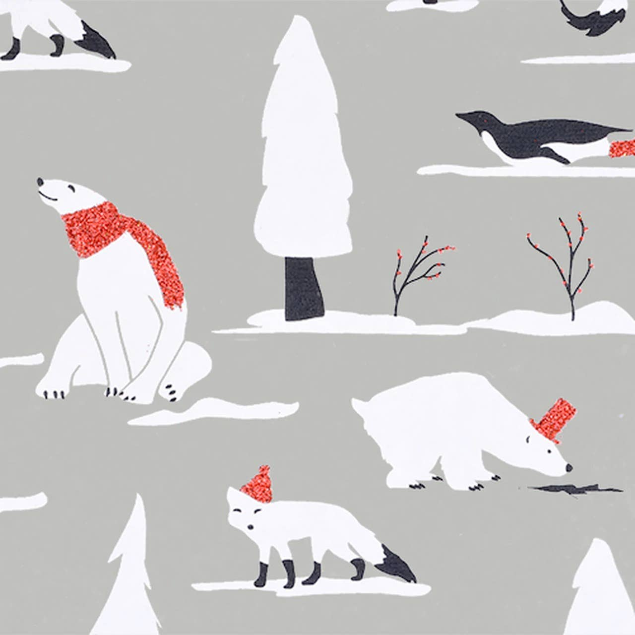 Snow Animals Flat Sheet Giftwrap