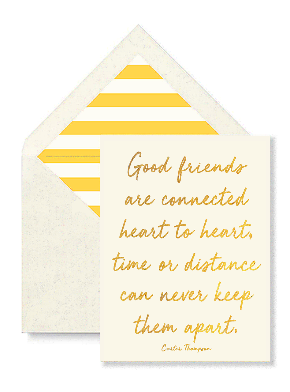 Good Friends are Connected Heart, gold foil