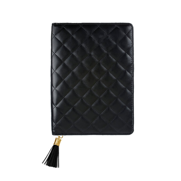 Clutch Inspired Faux Leather, refillable Journal with tassel pull zipper