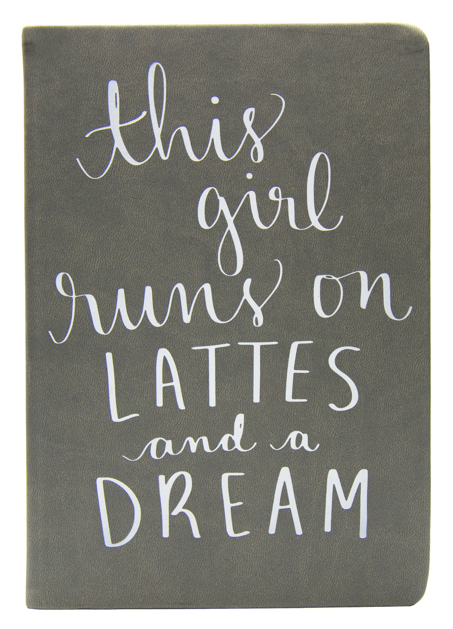 Journal Grey This Girl Runs on Lattes 6x8