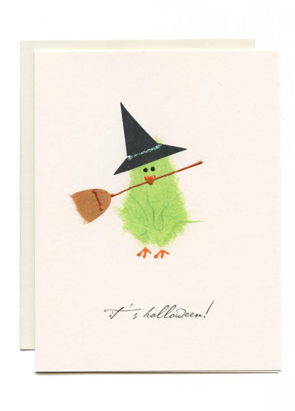 """Happy Halloween"" Witch with Broom"