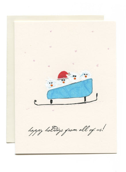"""Happy Holidays From All of Us"" Birds in Sled"