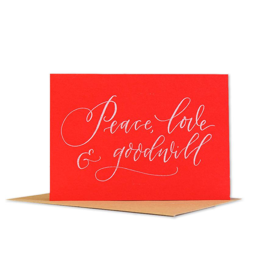 Foil X-mas Peace & Goodwill-Red & White