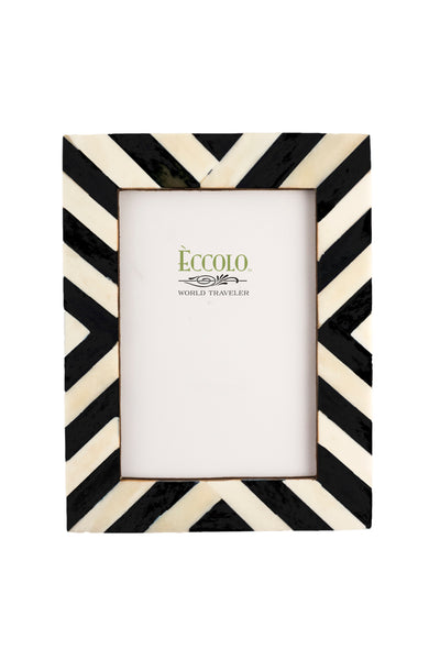Angled Stripes Black Ivory Frame