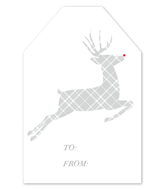 Plaid Silver Reindeer Gift Tag Set