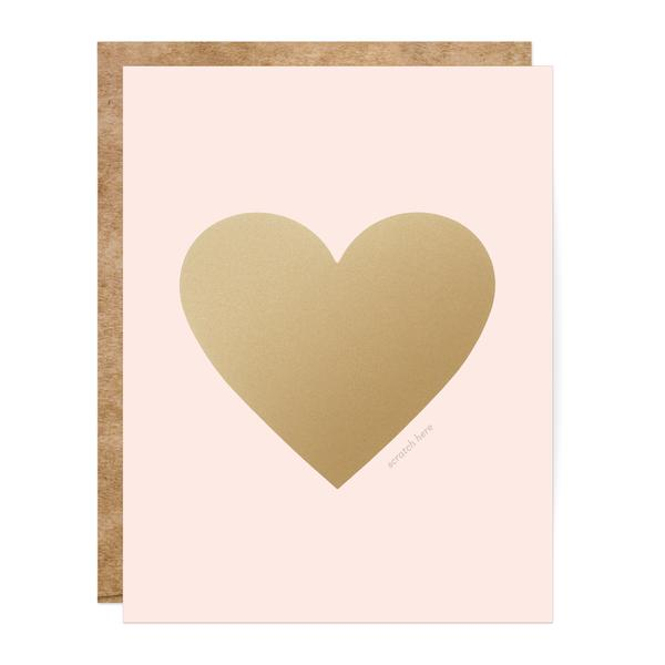Scratch-off Greeting Card - Pink & Gold Heart