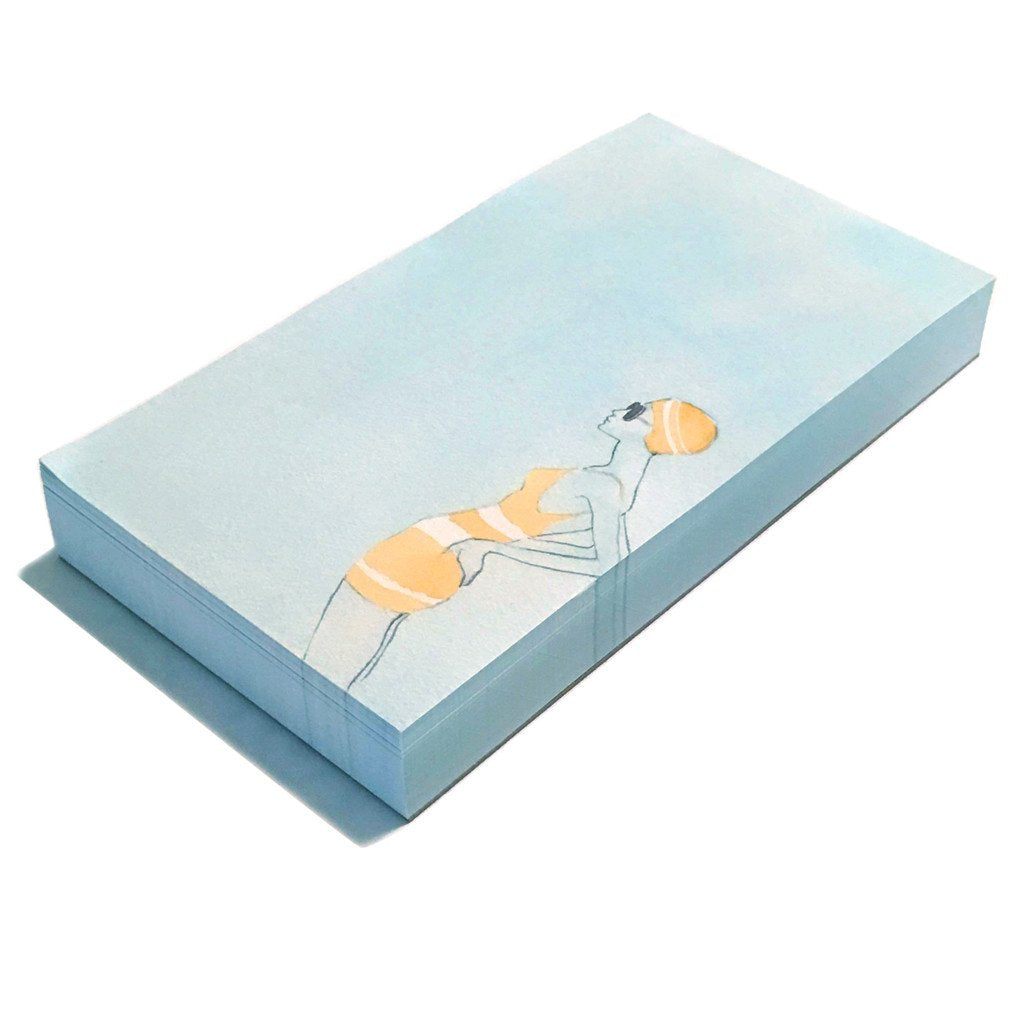 Swimmer Girl Long notepad 3.5x6.5