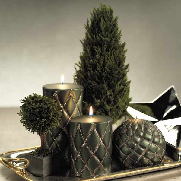 Green Velvet and Glitter Quilted Pillar Candles