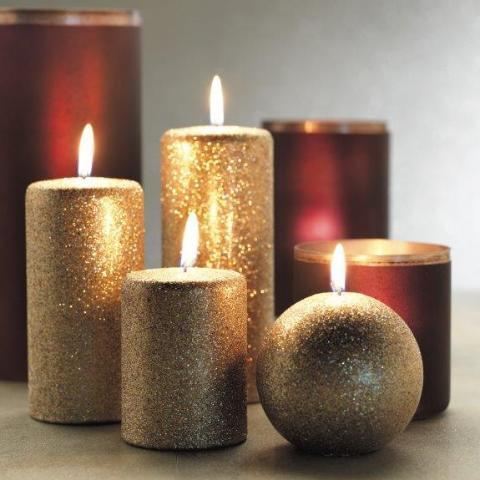 Gold Glitter Pillar Candles