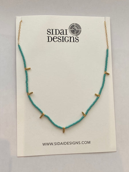Kisongo Collection: 7 Drop Long Single Strand Necklace (Turquoise & Gold)